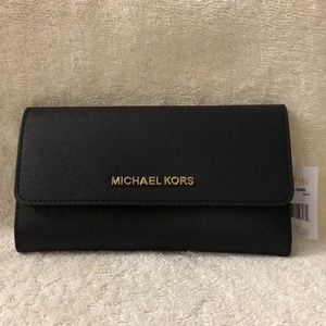 Michael Kors black trifold wallet